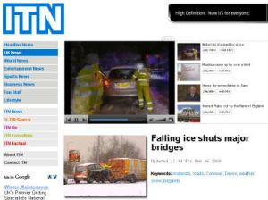 ITN web site: screen shot
