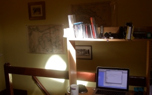 A distance learning environment (Drew's attic office)