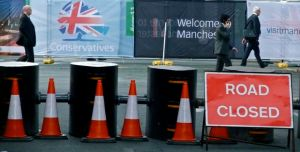 Road block, Conservative party conference, Manchester, 3/10/11