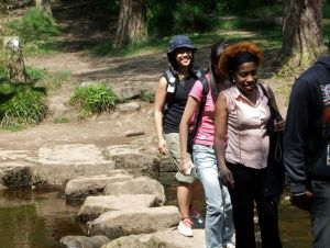 Myu, Yoko and Antonia on the stepping stones